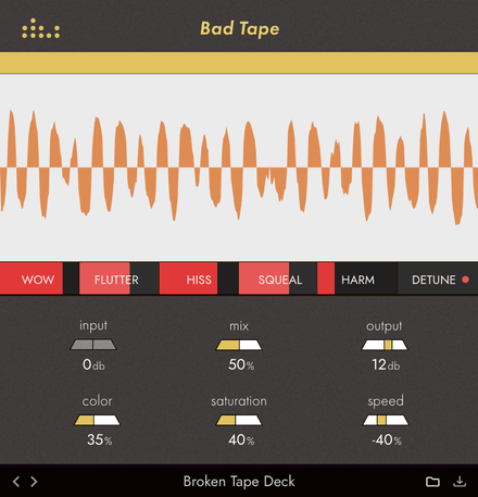 denise audio Bad Tape plugin GUI image