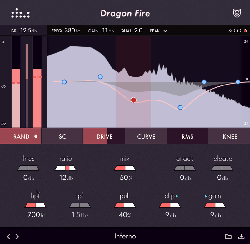 denise audio Dragon Fire GUI